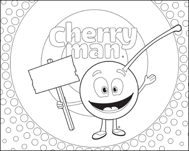 CherryMan with sign coloring page