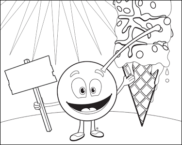 CherryMan With Ice Cream Cone Sundae Coloring Page