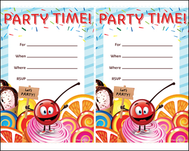 CherryMan birthday party invitations