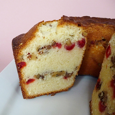Russian pound cake with cherries and walnuts