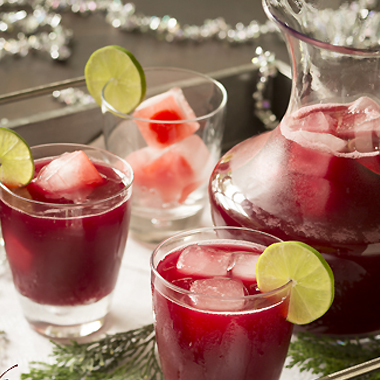 Maraschino cherry and pomegranate fruit punch