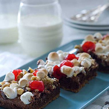 Maraschino cherry smore brownies topped off with marshmallows