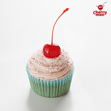 Single cherry cupcake with cherry buttercream cheese frosting.
