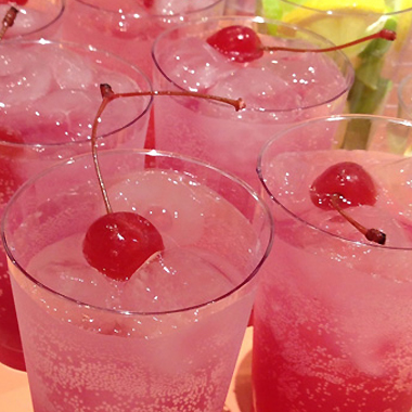Sparkling maraschino cherry drink