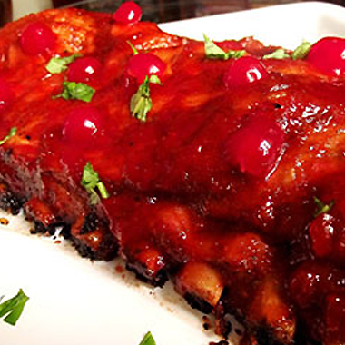 Maraschino cherry marinade on rack of ribs